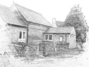 Black and white sketch of Charney Village Hall